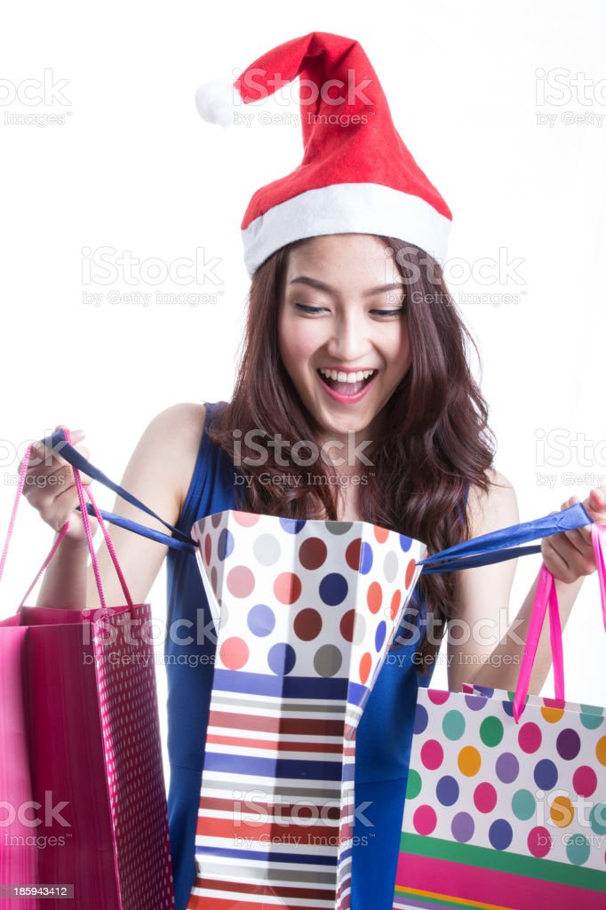 Asian women on holding a lot of shopping bag royalty-free stock photo