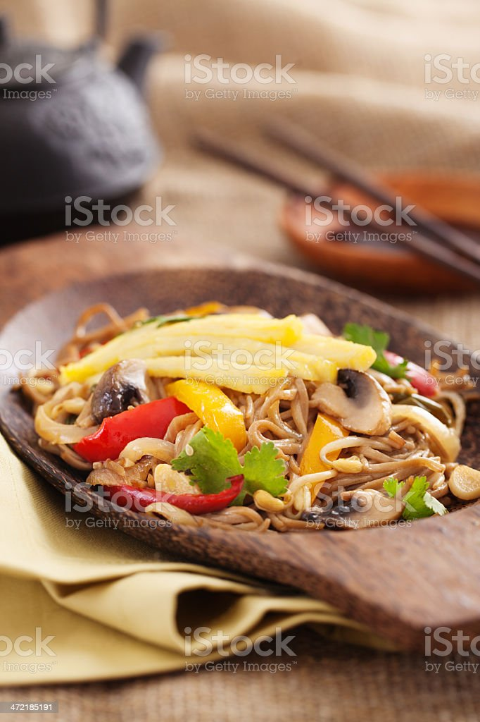 Asian yakisoba noodle with fried vegetables stock photo