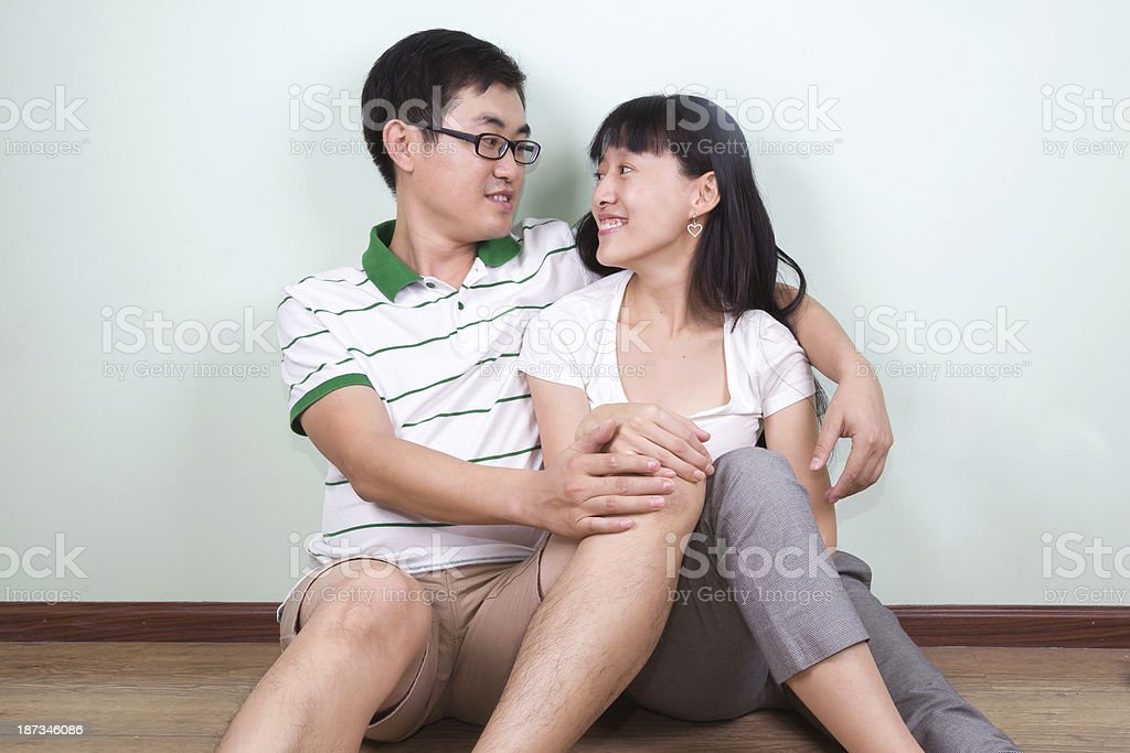 Asian Young Couple Moving to a New Home stock photo