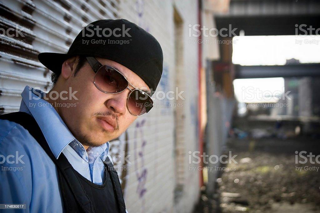 Asian Young Man Hip Hop Dancer Portrait in Urban Downtown stock photo