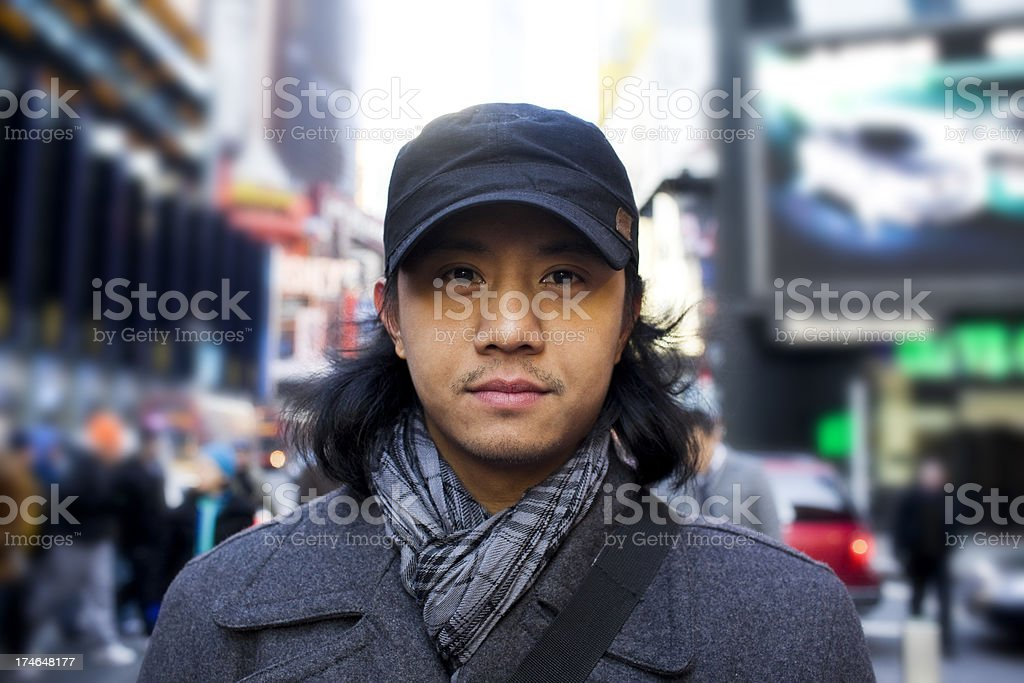 Asian Young Man Portrait in New York City Times Square royalty-free stock photo