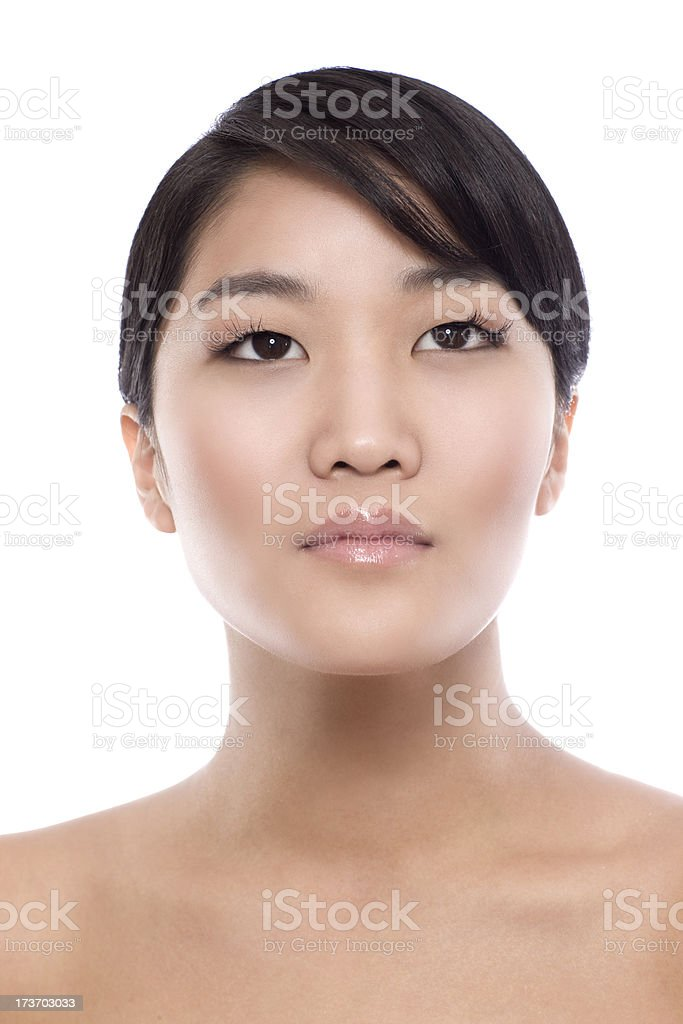 Asian Young Woman Beauty Model Portrait on White royalty-free stock photo
