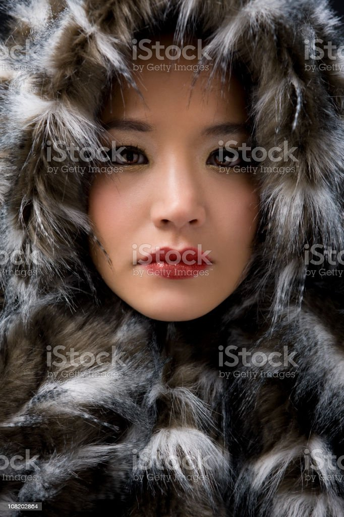 Asian Young Woman Beauty Portrait in Eskimo Fur, Copy Space stock photo