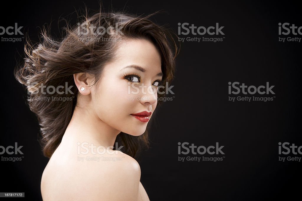 Asian Young Woman, Beauty Portrait on Black royalty-free stock photo