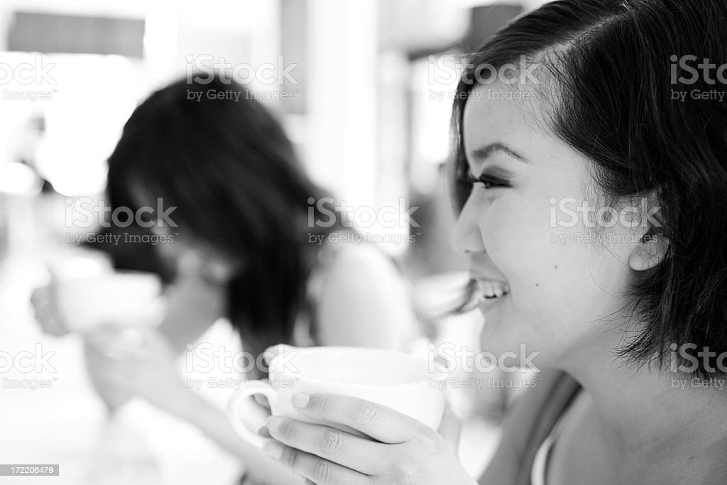 Asian Young Woman Close Up Laughing at Coffee Shop, Copyspace royalty-free stock photo