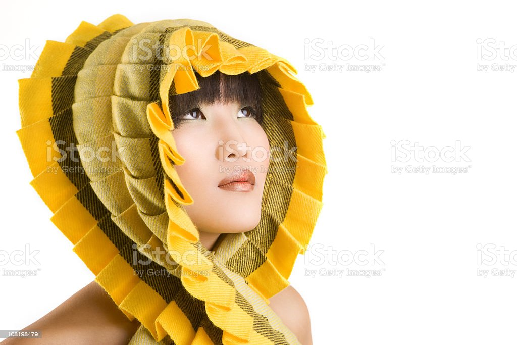 Asian Young Woman Portrait With Yellow Scarf, Copy Space royalty-free stock photo