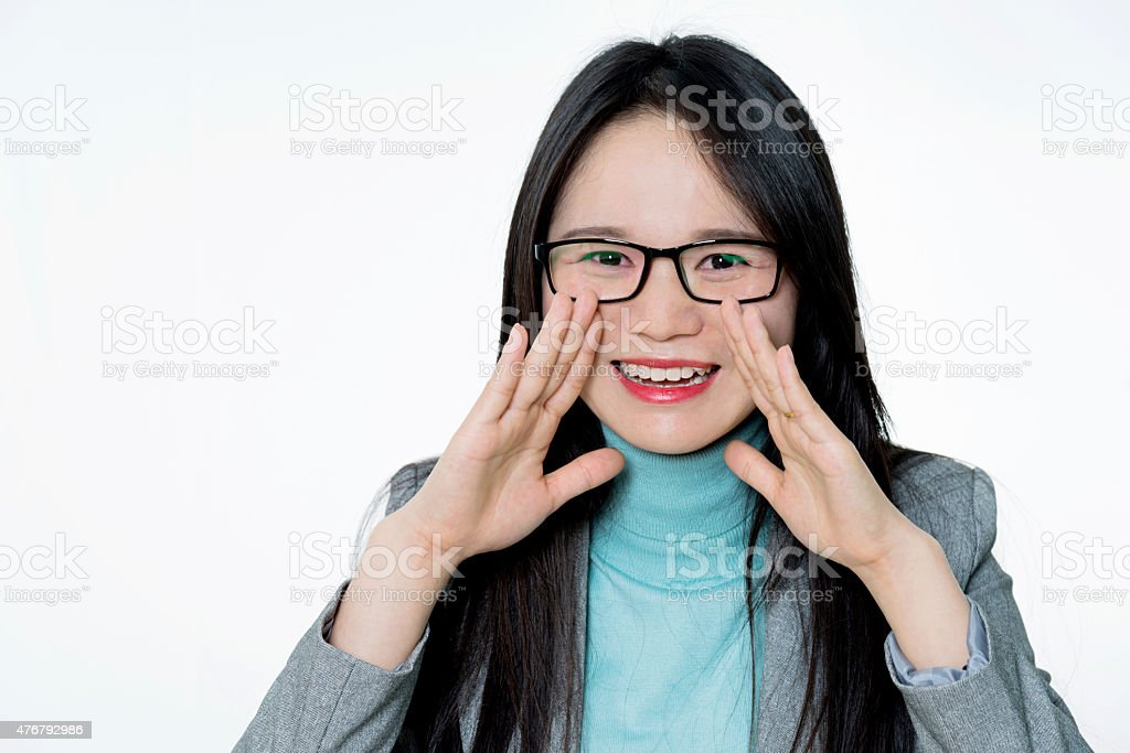 Asian young woman shouting stock photo