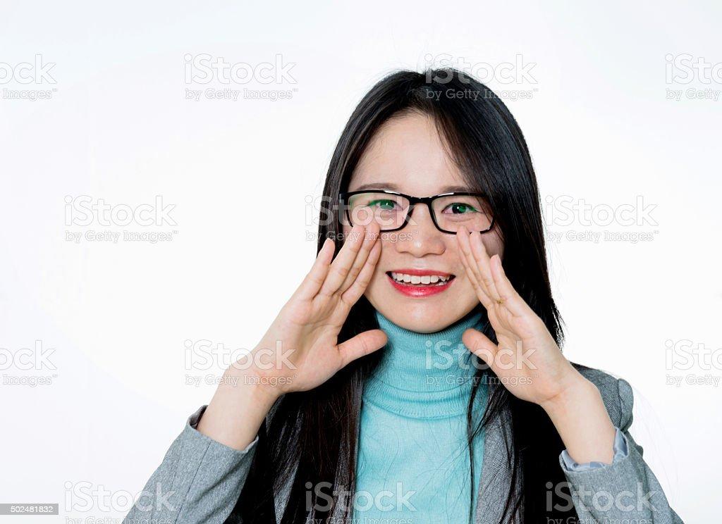 Asian young woman shouting stock photo