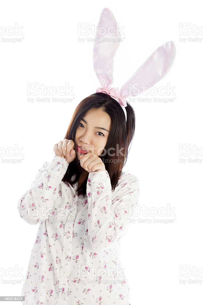 Asian young woman wearing casual clothes isolated white background stock photo