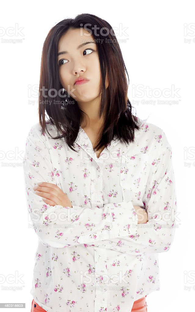 Asian young woman wearing casual clothes isolated white background royalty-free stock photo