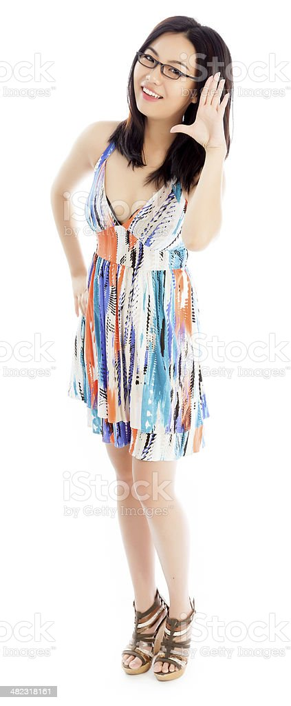 Asian young woman wearing summer dress isolated white background royalty-free stock photo