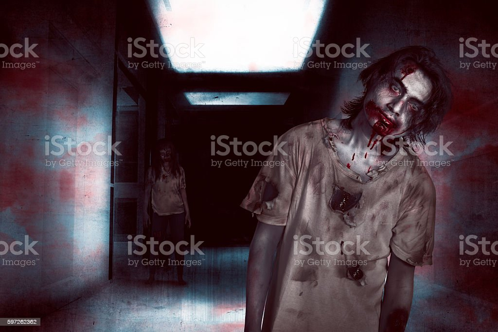 Asian zombie man and woman in the room stock photo