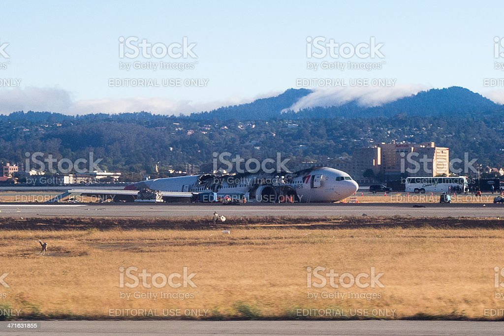 Asiana 214 on runway, after crash landing royalty-free stock photo