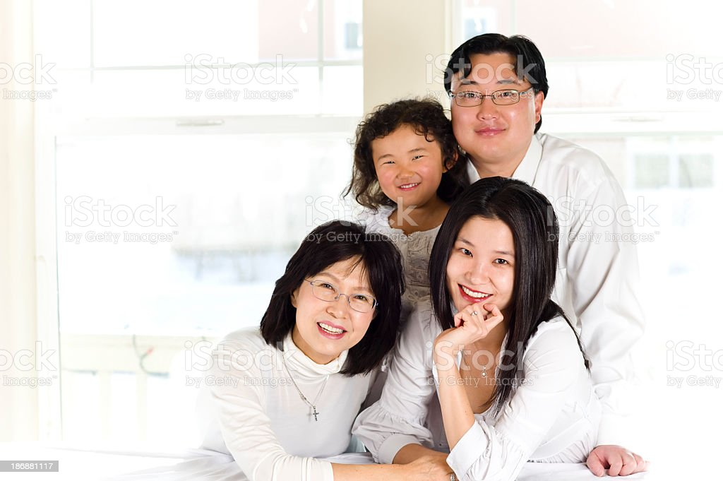 Asian-American Family Portrait royalty-free stock photo