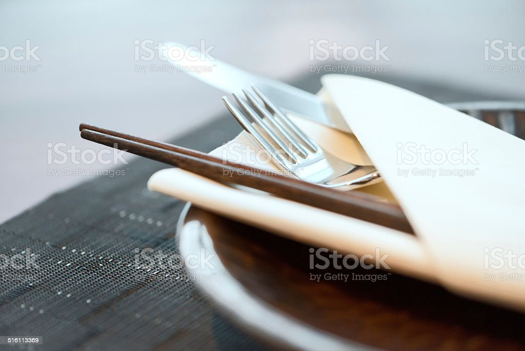 Asian-Western Fusion Cuisine Place Setting stock photo