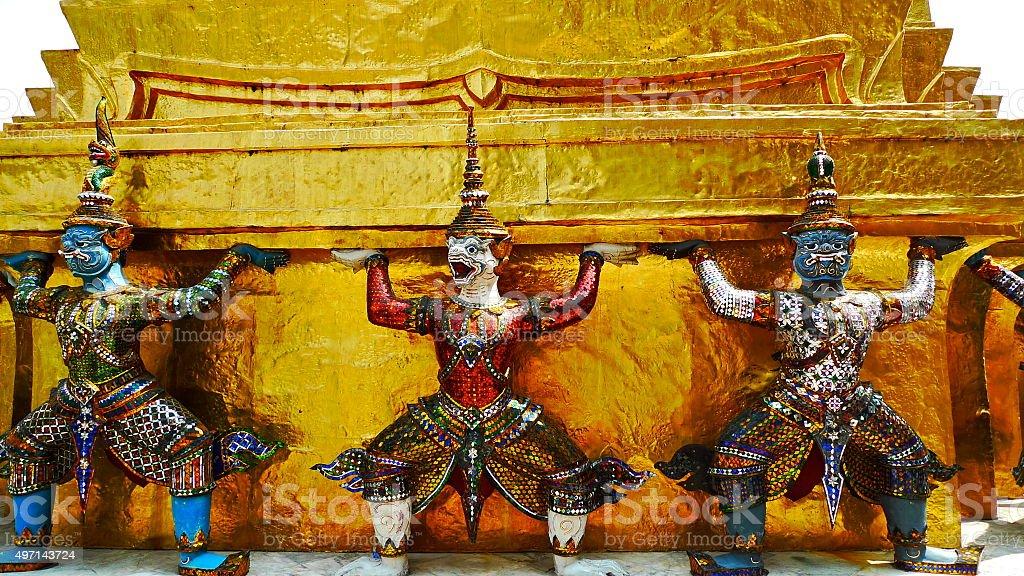 Asie, Thaïlande, Bangkok, Palais royal, statues, ubosot stock photo