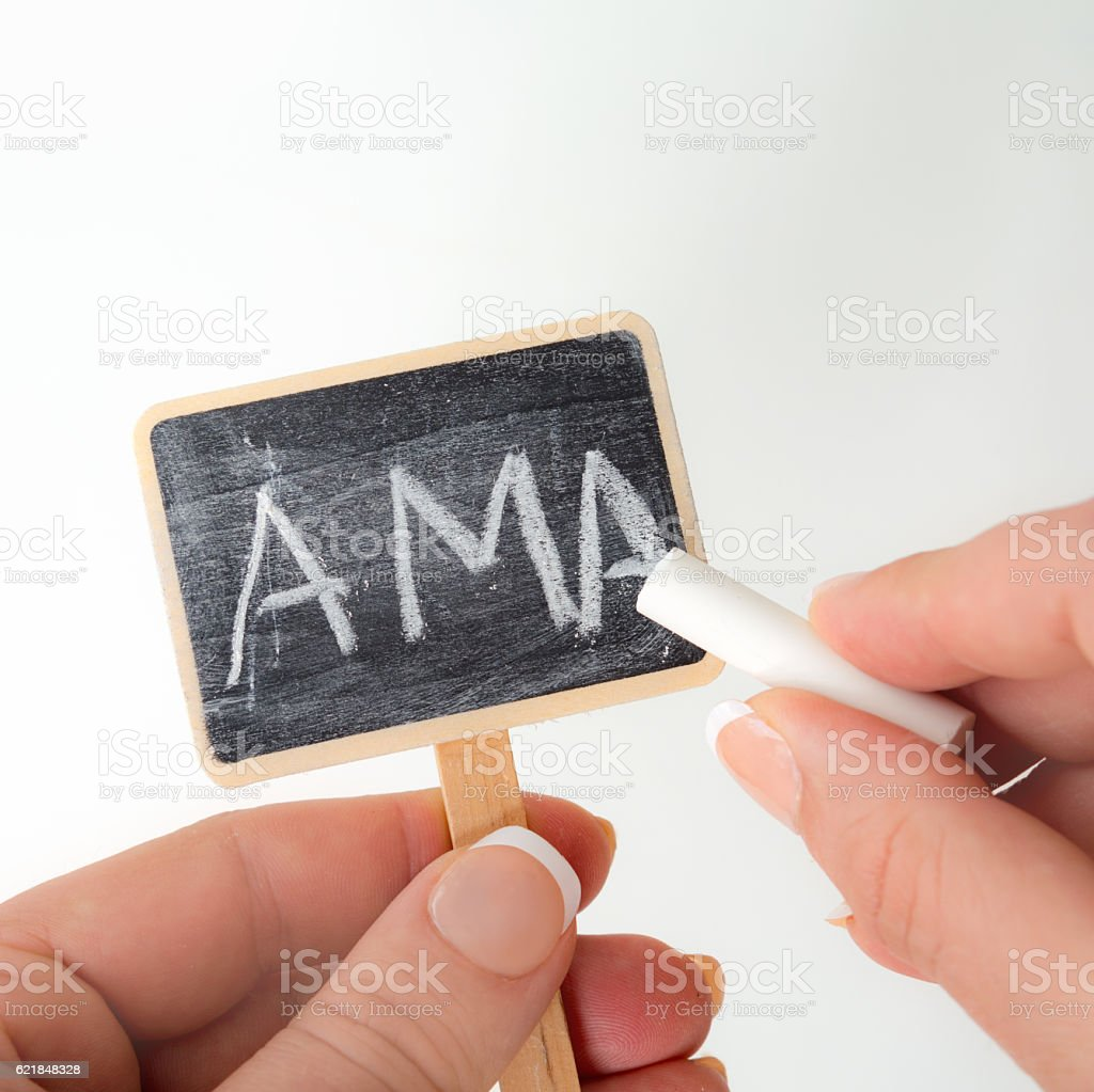 Ask me Anything on chalk plantlabel stock photo
