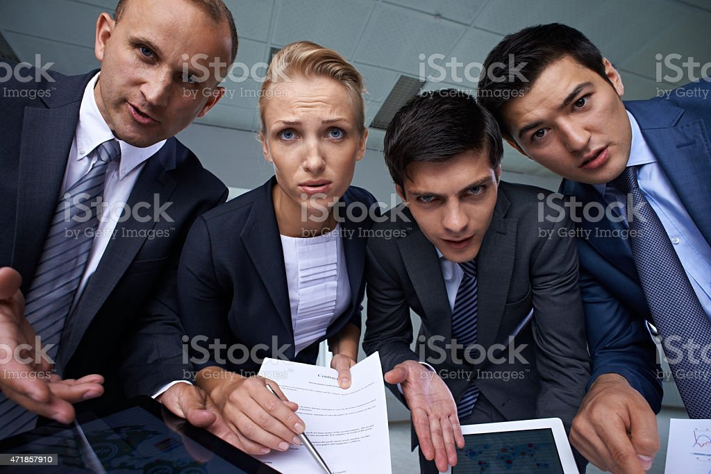 Asking for explanation stock photo