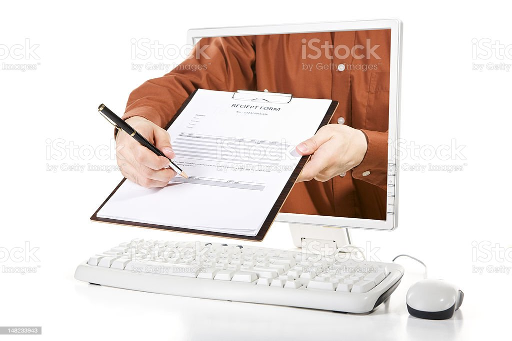 Asking for your signature royalty-free stock photo