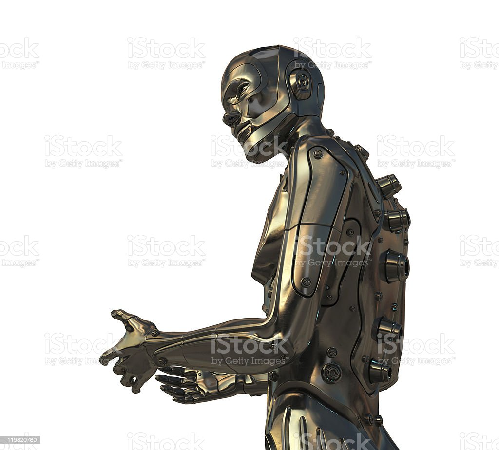 Asking robotic man royalty-free stock photo