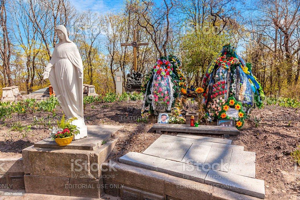 Askold's Graveyard American Killed Ukraine/Russia War Kiev Ukraine stock photo