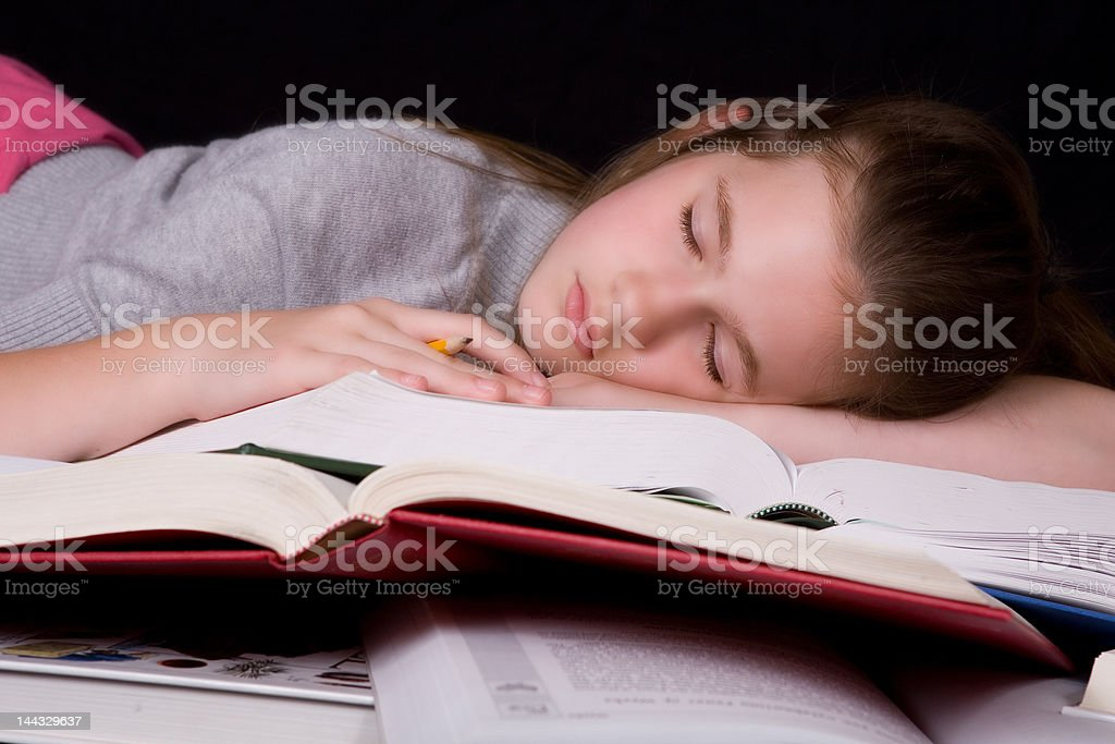 Asleep on the Books royalty-free stock photo