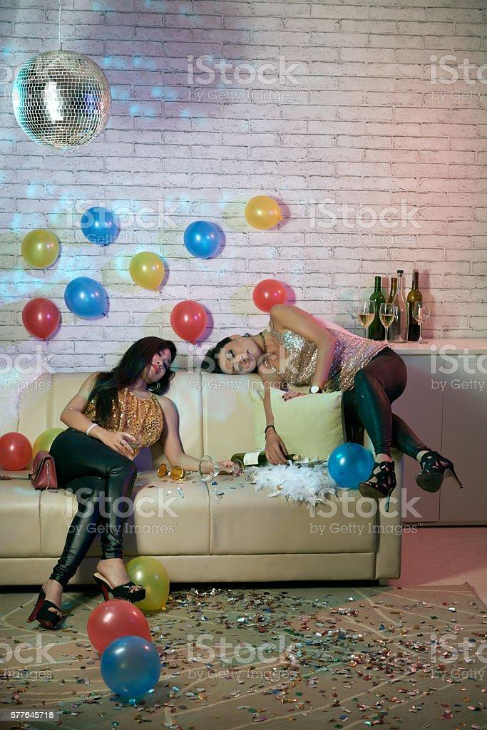 Asleep party girls stock photo