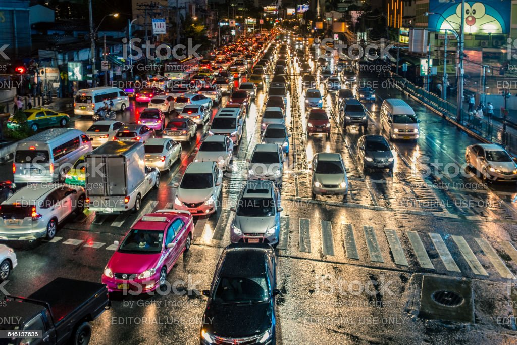 Asok Sukhumvit Junction At Night In Bangkok, Thailand stock photo