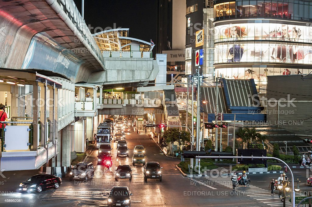 Asoke Junction And Skytrain Station In Bangkok At Night royalty-free stock photo