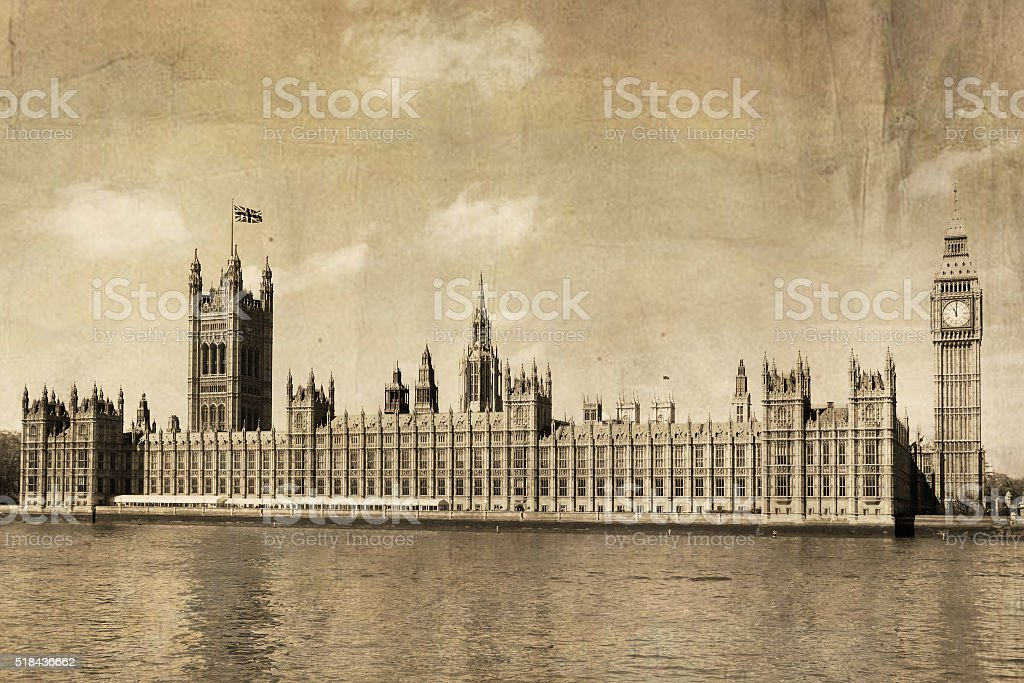 as....old postcard of London stock photo