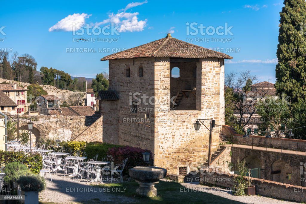 Asolo, Asolo, Castle of the Queen,Duse theater,tower stock photo