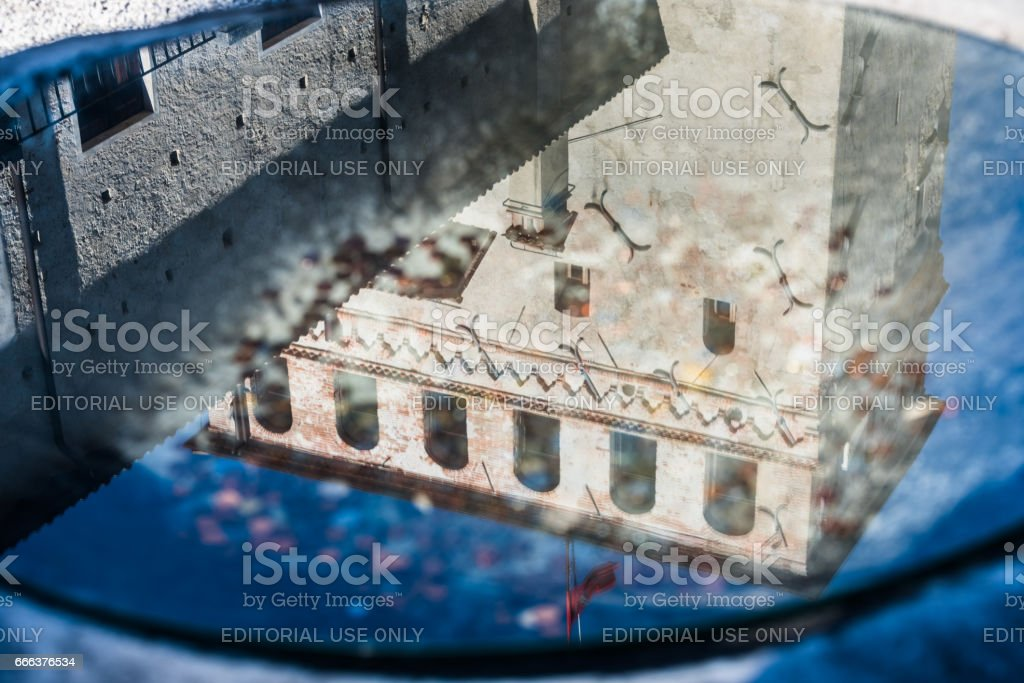 Asolo, Asolo, Castle of the Queen,Duse theater,tower reflected stock photo