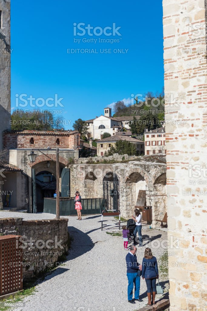 Asolo, Castle of the Queen,Duse theater,Entrance stock photo