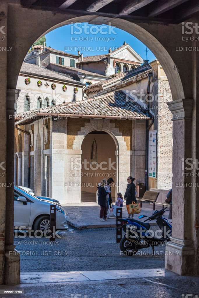 Asolo,Cathedral view from the palace of reason stock photo