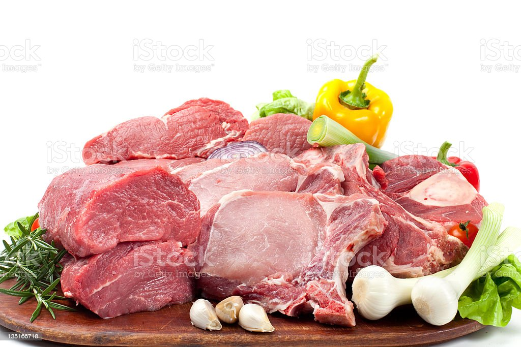 Asorted raw meat royalty-free stock photo