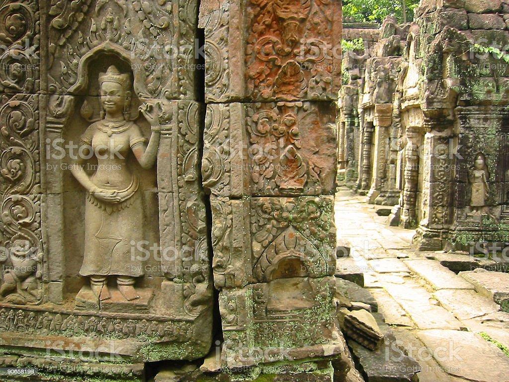 aspara art angkor wat temple ruins cambodia royalty-free stock photo