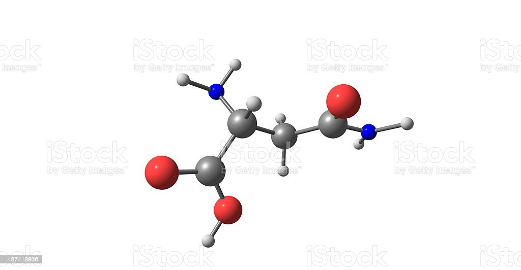 Asparagine molecule isolated on white stock photo