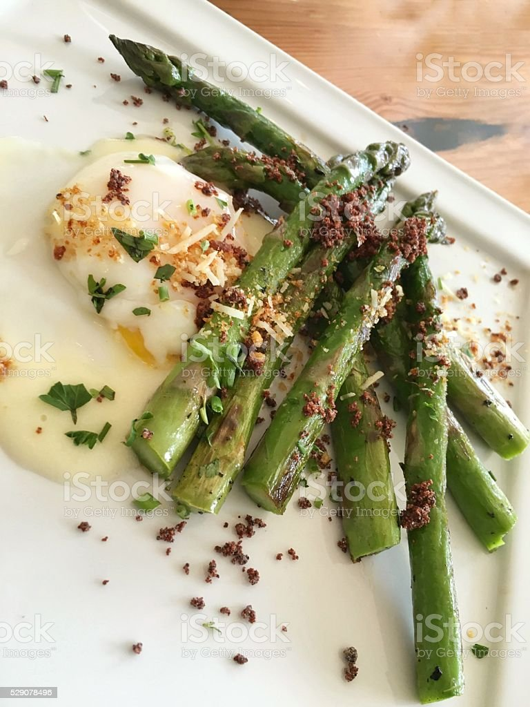 Asparagus and 63 degree egg stock photo