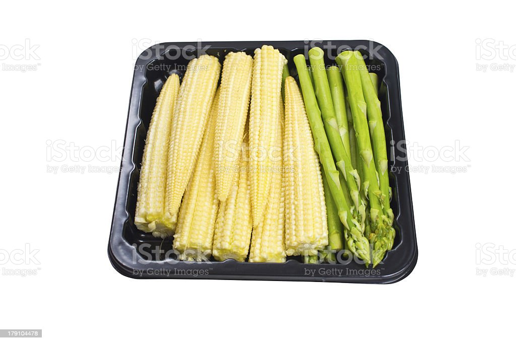 Asparagus and baby corn. royalty-free stock photo