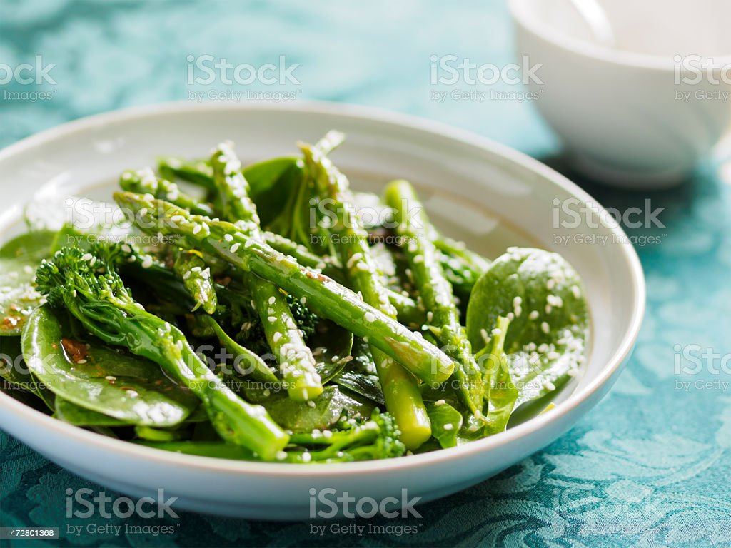 Asparagus and broccoli salad stock photo