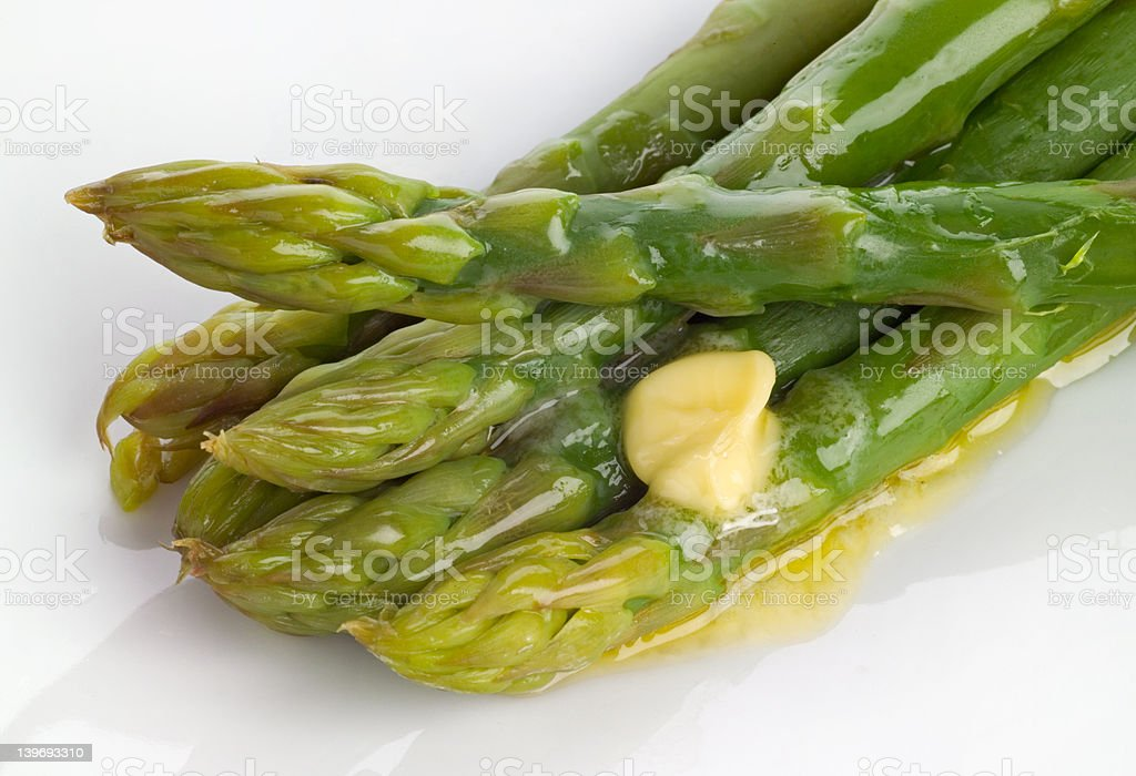 Asparagus and butter royalty-free stock photo