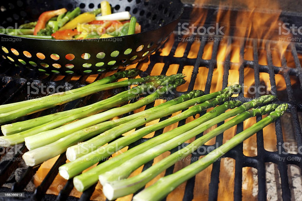 Asparagus and mixed vegetables on bbq grill royalty-free stock photo