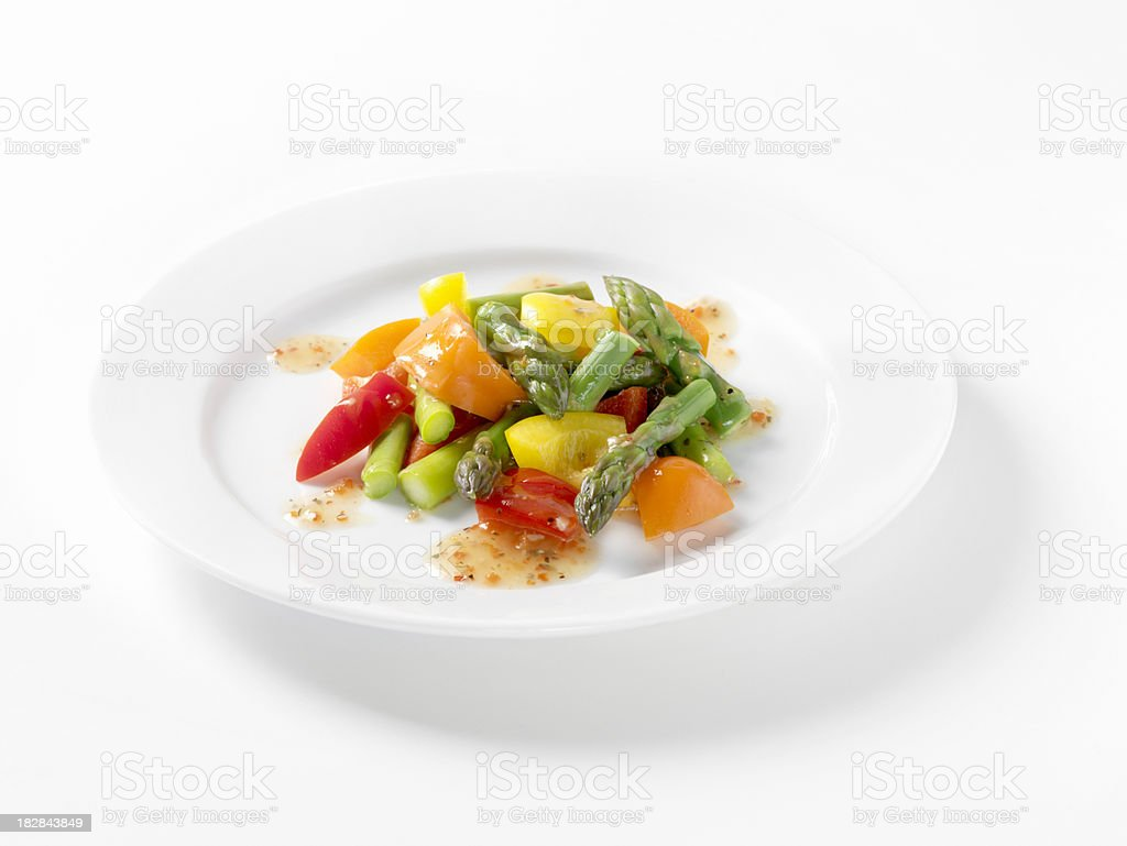 Asparagus and Pepper Salad with Italian Dressing stock photo
