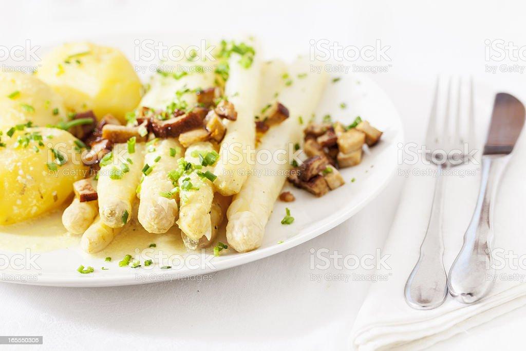 asparagus and potato on plate stock photo