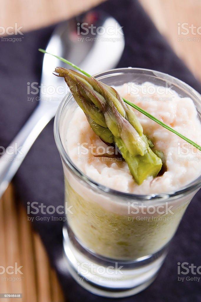 Asparagus and shrimp verrines stock photo