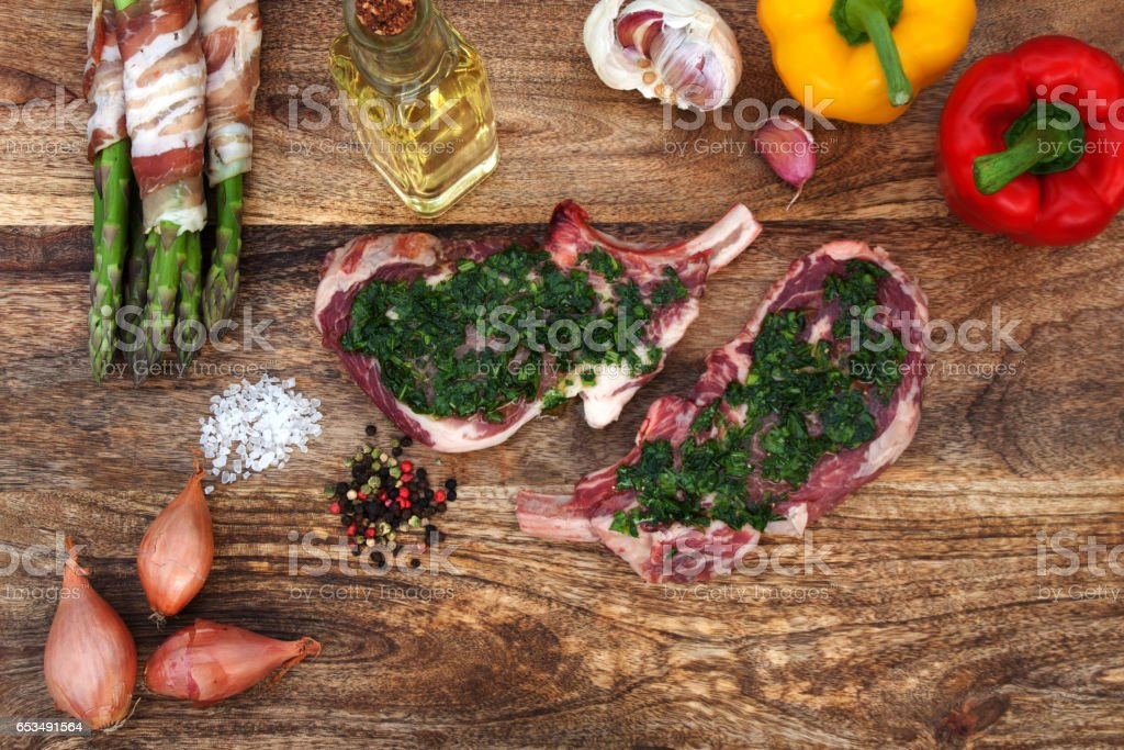 Asparagus and steak for grilling stock photo