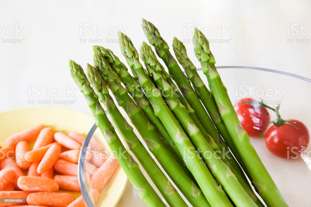 Asparagus and yakinori stock photo