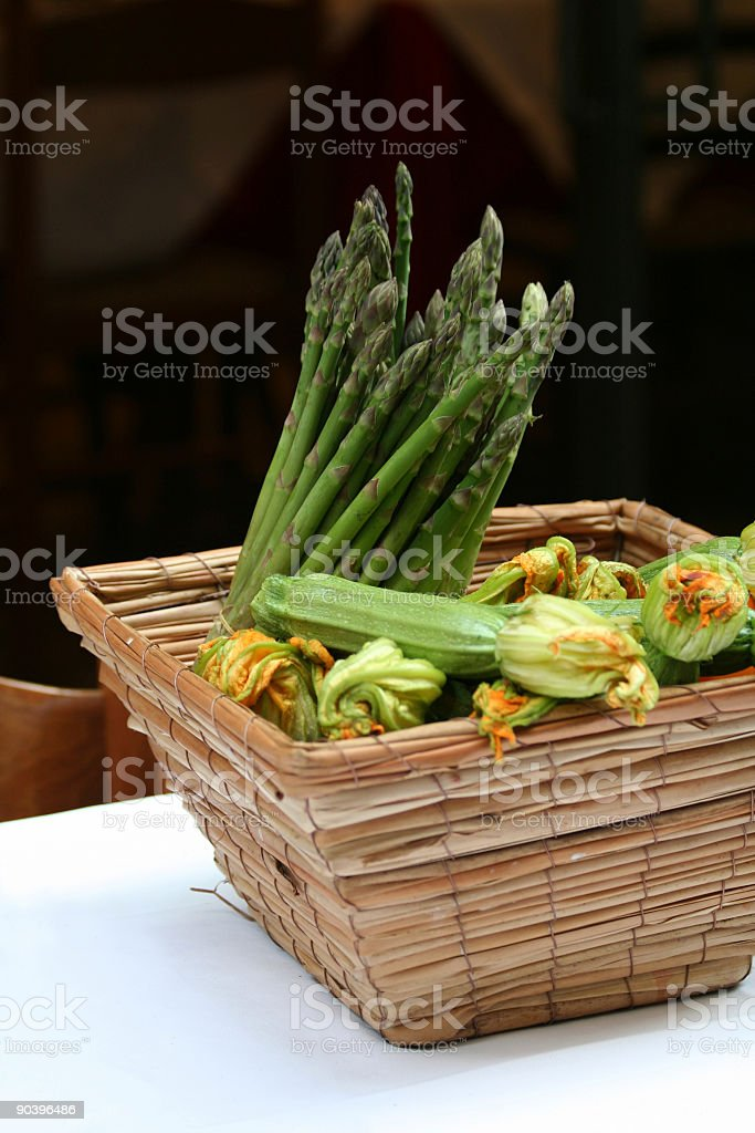 Asparagus basket decoration royalty-free stock photo