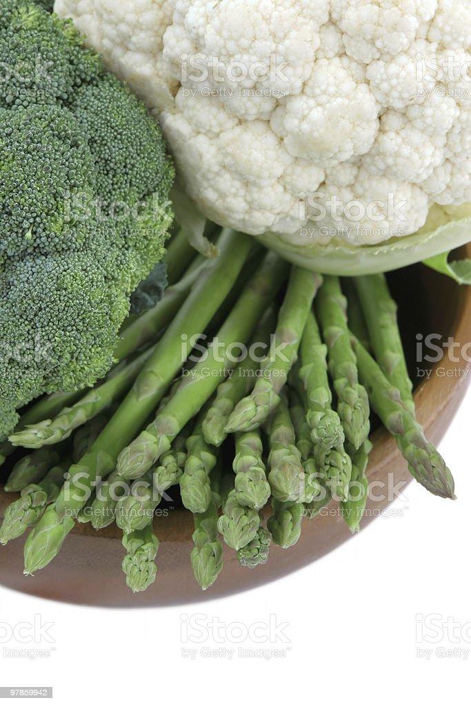 Asparagus, broccoli and cauliflower stock photo