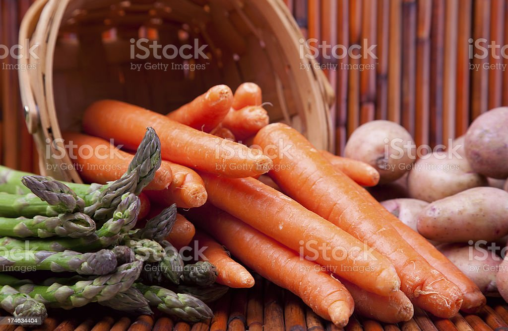 Asparagus Carrots & Red Potatoes. royalty-free stock photo